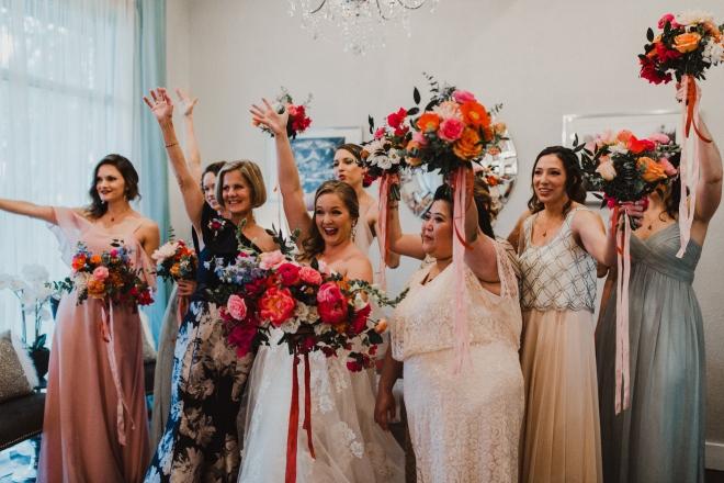 boho dripping springs wedding texas terrace club bridesmaids mix match dresses