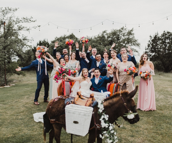 terrace club wedding hill country beer burros miniature donkey boho chic