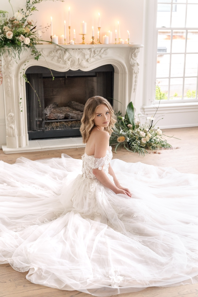 stephania campos houston romantic bridal shoot seated bride belle ame