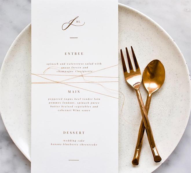 Memory Lane Paperie menu card gold metallic modern monogram