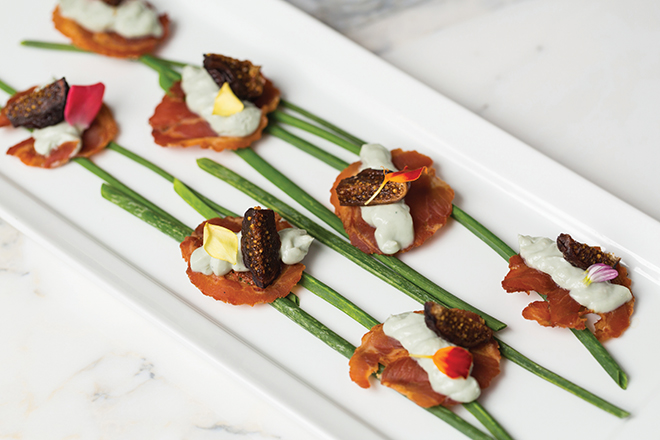 Fig and Proscuitto wedding appetizer by Jackson and Company