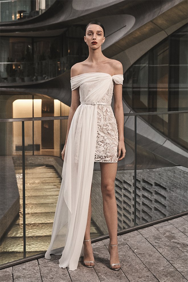 naeem khan fall 2019 bridal rehearsal dinner dress bridal shower looks