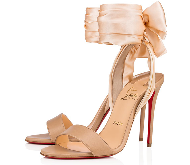 Christian louboutin bridal shoes pink nude heel satin bow bridal shower looks