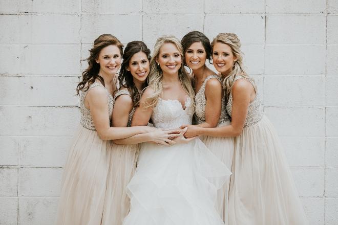 modern elegant wedding downtown houston bride bridesmaids ivory boho dresses