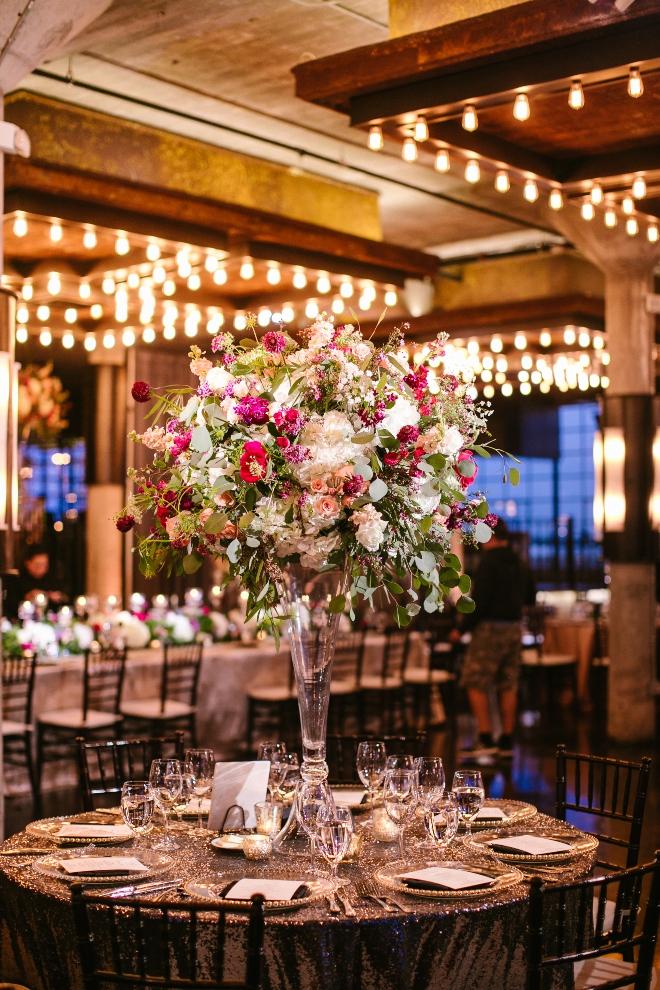 modern elegant wedding the astorian round table tall centerpiece