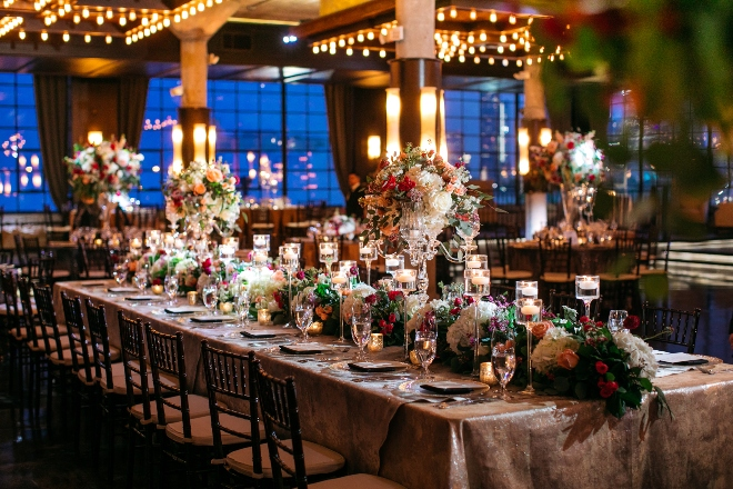 modern elegant wedding the astorian long table mixed centerpieces edison bulbs