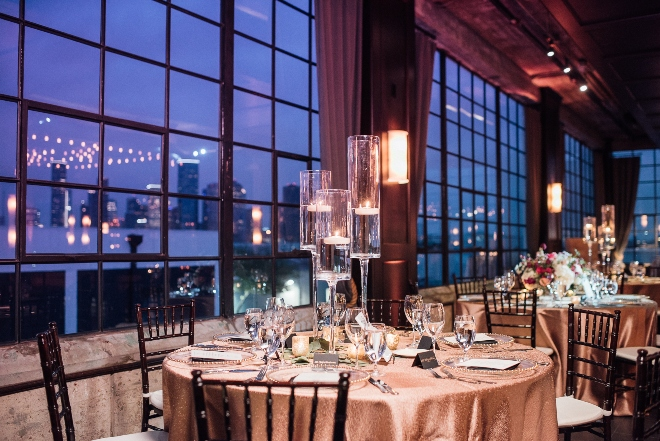 modern elegant wedding the astorian picture windows industrial chic tall glass votive holders