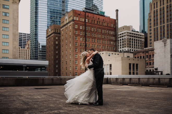 modern elegance wedding the astorian rooftop downtown houston couple photo