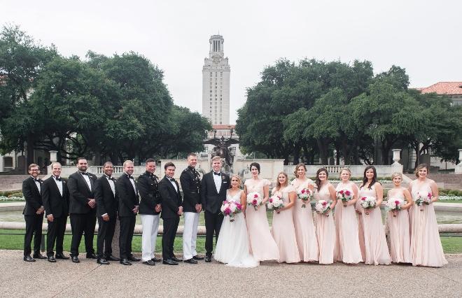 winery inspired austin wedding ut tower bridesmaids groomsmen photo jessica frey