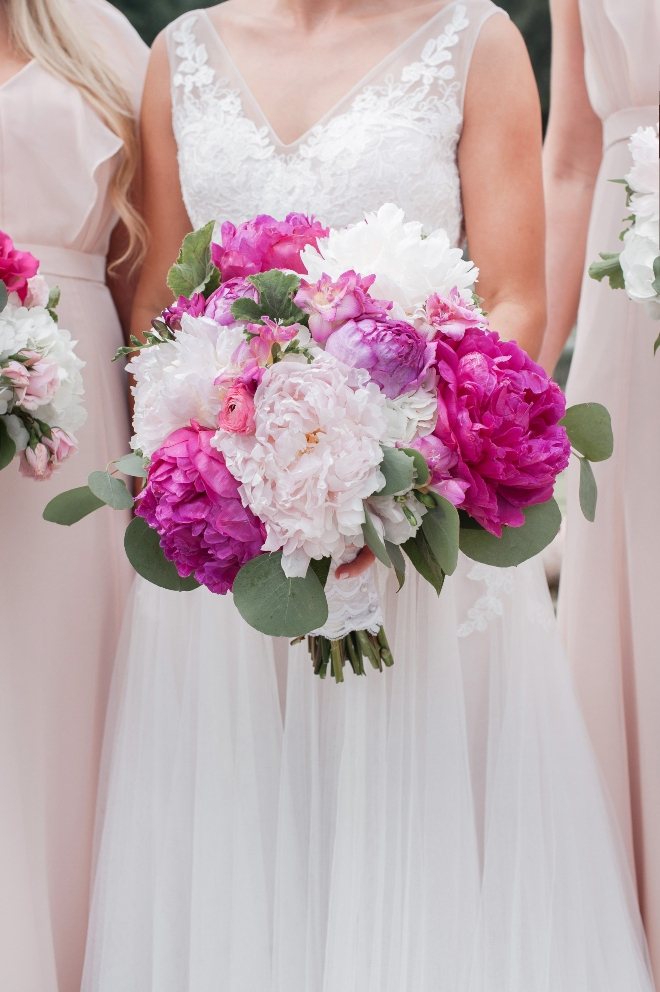 winery inspired austin wedding bridal bouquet pink peonies jessica frey photography