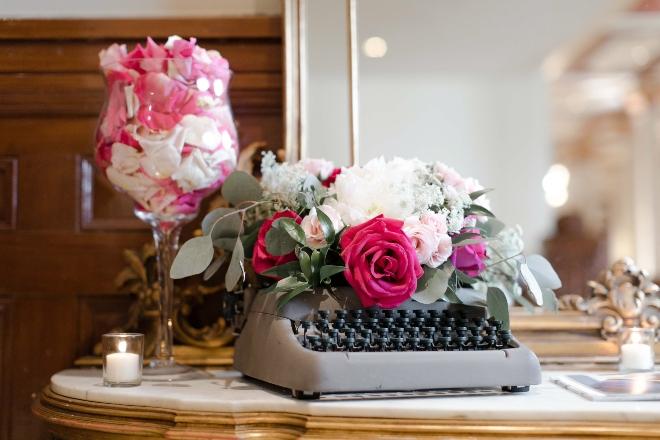 austin wedding vintage typewriter flowers gray pink white jessica frey photography