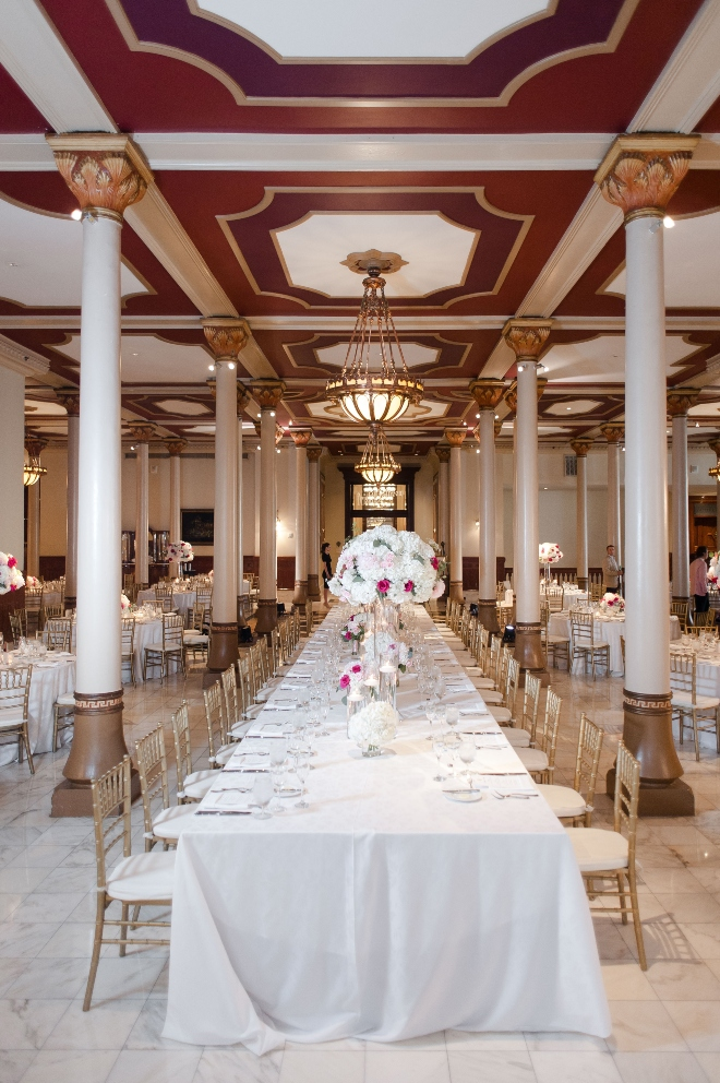 winery inspired austin wedding the driskill hotel jessica frey photography reception ballroom columns