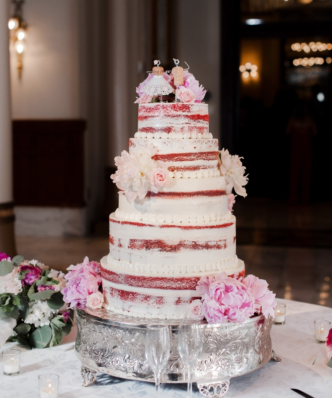 almost naked cake wedding pink fresh flowers jessica frey houston texas