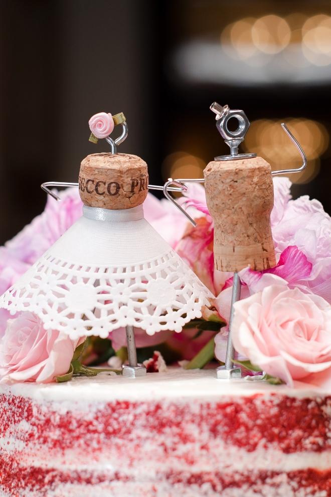 winery inspired austin wedding wine bottle cork cake toppers bride groom