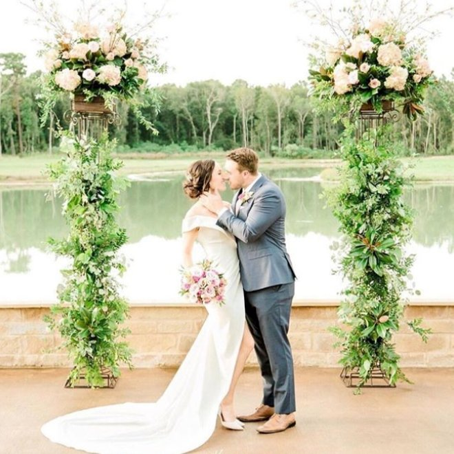 Southern Lace Estates houston wedding venue lakefront water view outdoor ceremony
