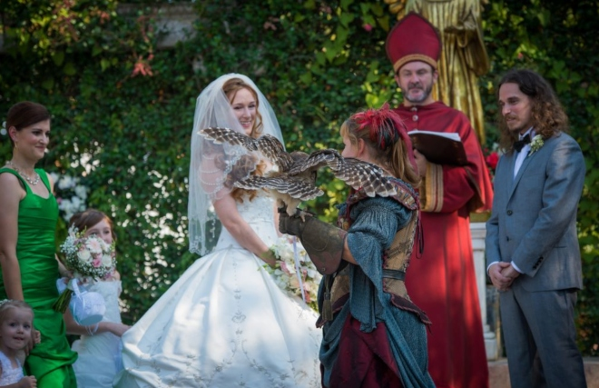 texas renaissance festival wedding costumed characters owl
