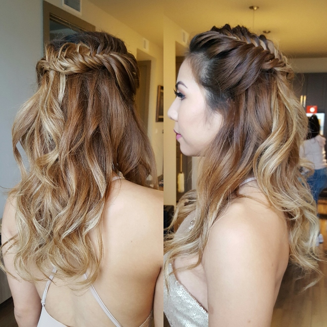 hair makeup wedding day bridesmaid fishtail braid long loose waves half up the bridal suite houston