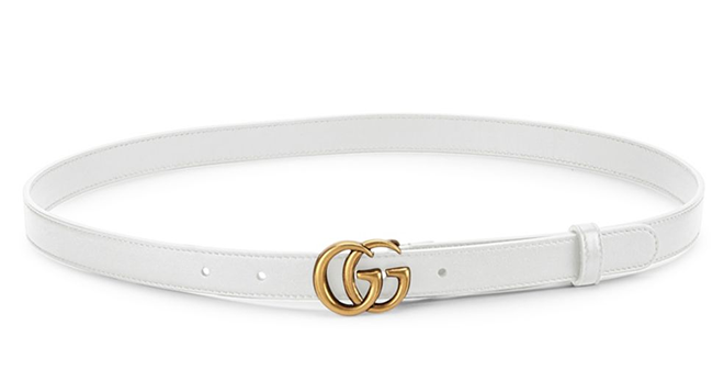 wite skinny gucci logo belt houston high fashion bridal shower looks