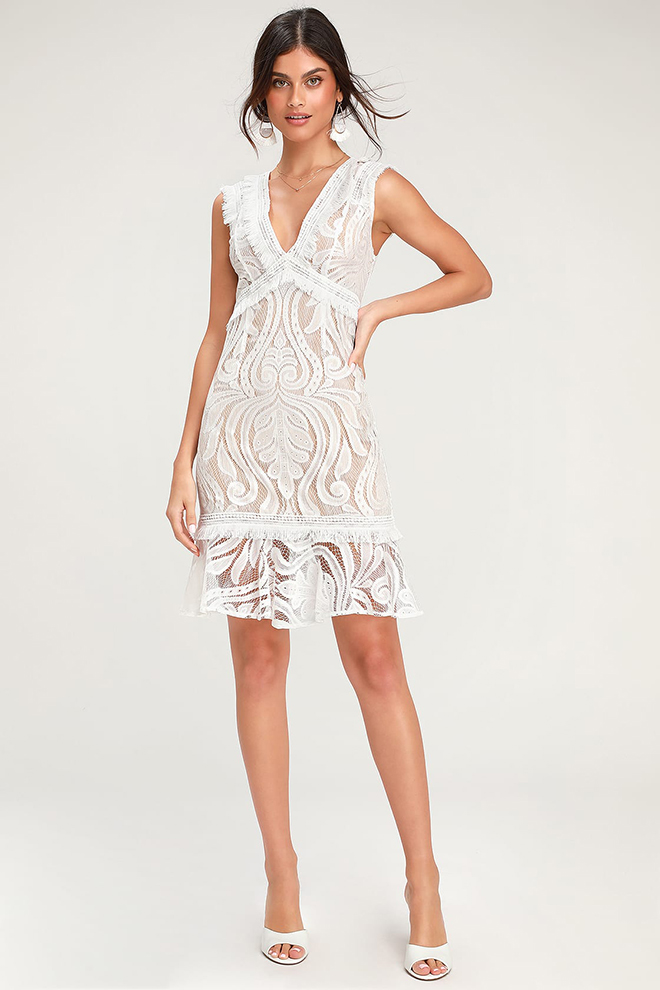 ivory lace rehearsal dinner dress bridal shower looks