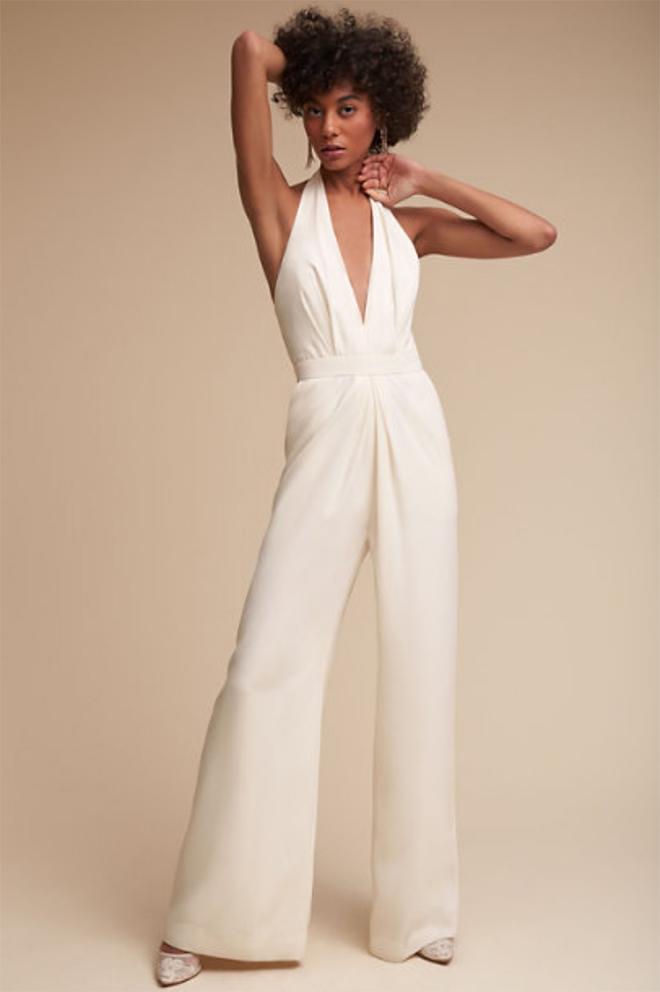 sexy white jumpsuit plunge v neck wide leg Jill Stuart
