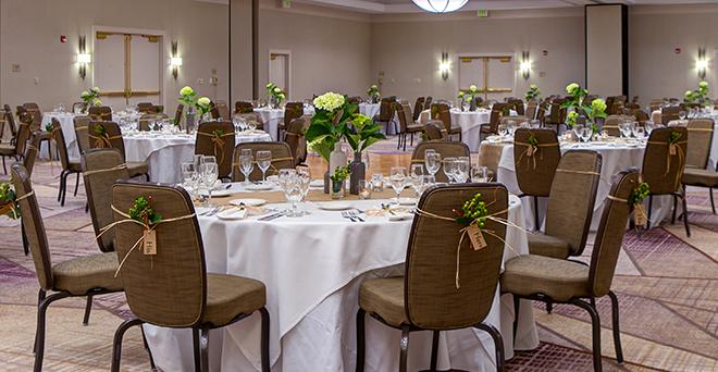 hotel wedding - hotel ballroom - simple elegant decor