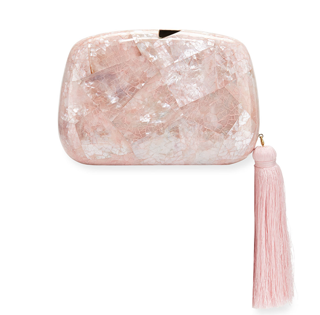 tassel pink clutch bridal shower looks