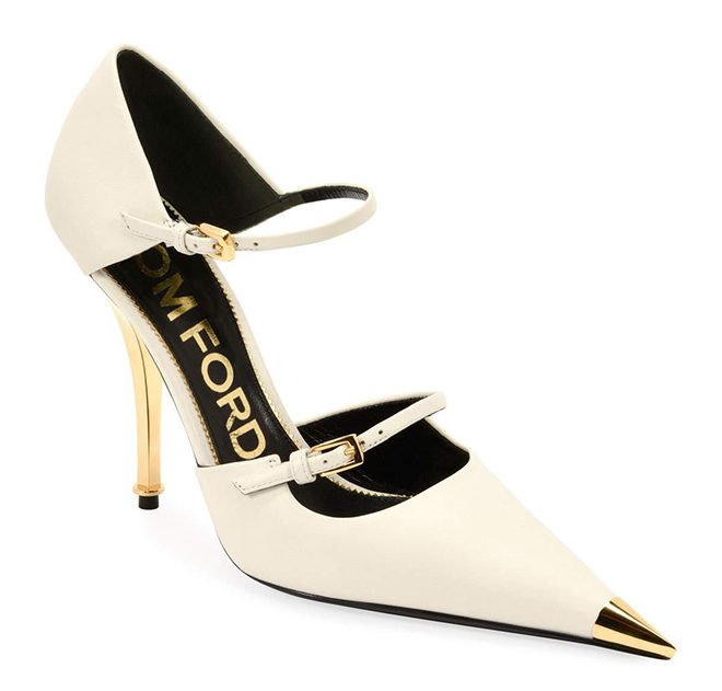 ivory gold tom ford heels wedding bridal shower looks