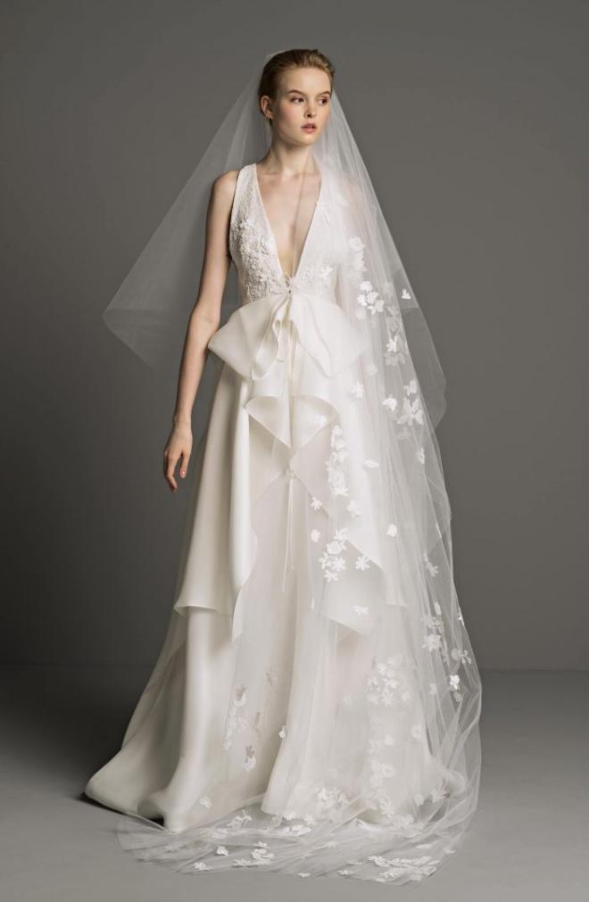 yasmine bridal gown 2019 2018 peter langner V neck chiffon draping long floral veil