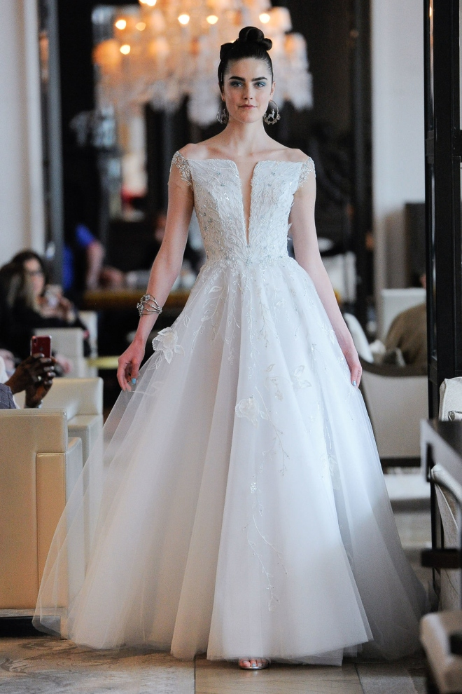 spring 2020 wedding dress bridal gown ines di santo off the shoulder blu houston