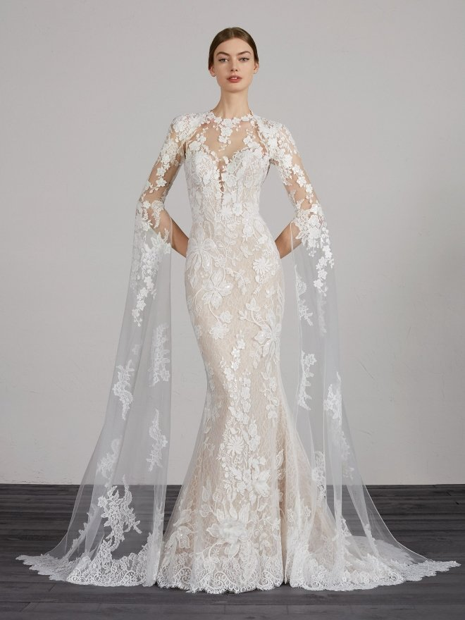 pronovias spring 2020 bridal gown lace renaissance sleeve parvani vida houston
