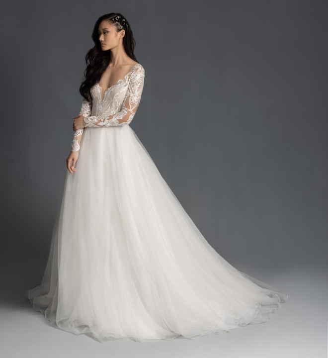 hayley paige spring 2020 fall 2019 mulan bridal gown long sleeves