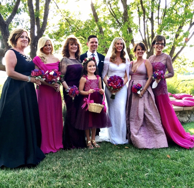 Houston fashion designer David Peck custom wedding gown Heather McLeskey hot pink purple