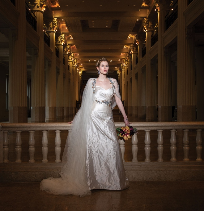 Houston fashion designer David Peck custom wedding gown dress white satin floral trim tulle cape veil