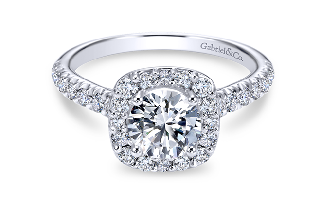 Cushion Halo Round Diamond Engagement Ring Bailey Banks Biddle