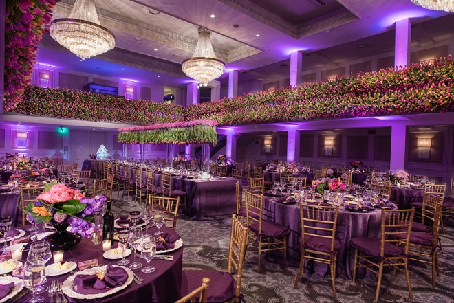 san antonio wedding venue st anthony hotel ballroom purple gold pink wedding