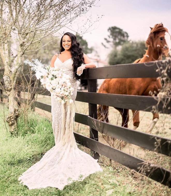sandlewood manor grand opening new houston venue pasture horses bride portrait