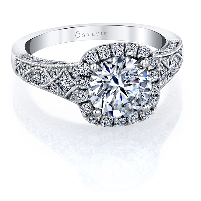 Cushion Halo Engagement Ring Houston Sylvie Zadok
