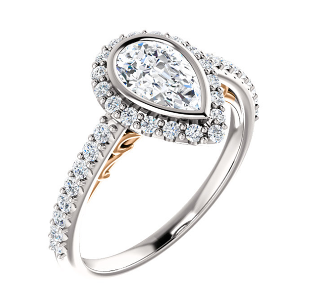 Pear Halo Diamond Engagement Ring houston