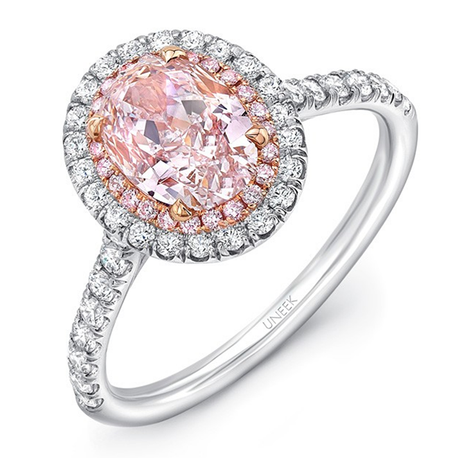 Pink diamond oval halo ring Houston Alku Modern Jewelers uneek