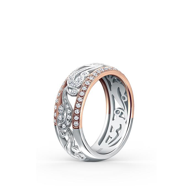 Rose & White Gold Wedding Band Kirk Kara Houston