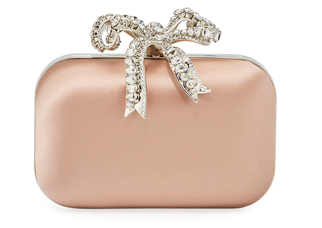Nude Bridal Handbags - Jimmy Choo Satin Clutch Bag with Crystal Bow - blush wedding theme