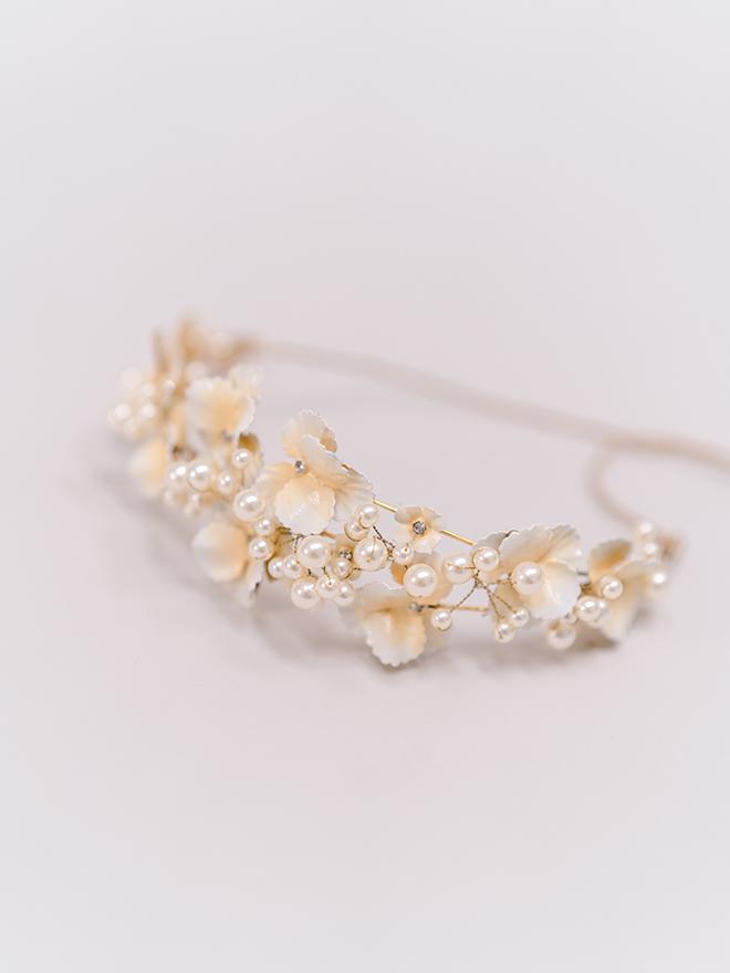 joan pillow bridal salon headband tiara flowers pearls