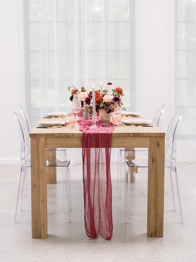 """stephania campos fall wedding shoot farm table chiffon runner ghost chairs"