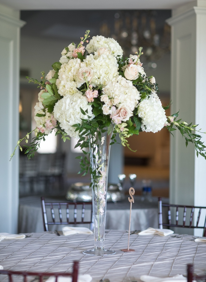 wedding reception centerpiece white hydrangea blush roses pine forest country club houston