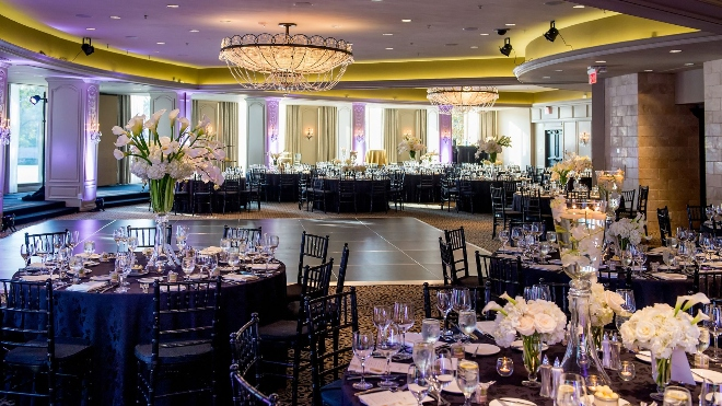 phantom ballroom hotel zaza houston museum district black white purple wedding