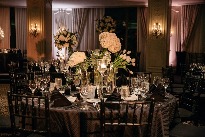 hotel zaza museum district phantom ballroom black white modern reception houston wedding