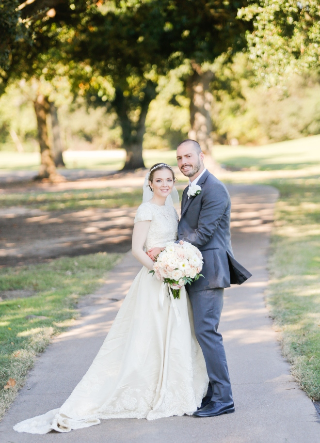 fall wedding pine forest country club couple portrait outdoors