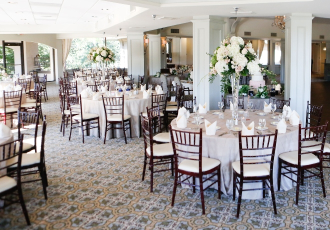 pine forest country club houston wedding venue simple elegant reception hydrangea rose centerpieces