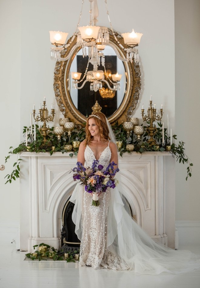 nottoway plantation wedding bridal portrait fireplace blanca duran photography