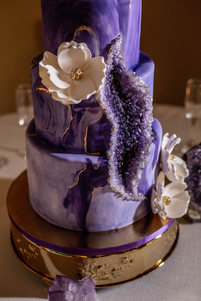 purple gold geode cake crystal magnolia blanca duran photography